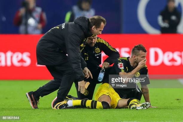 Andrey Yarmolenko of Dortmund on the ground during the Bundesliga match between Hamburger SV and Borussia Dortmund at Volksparkstadion on September...