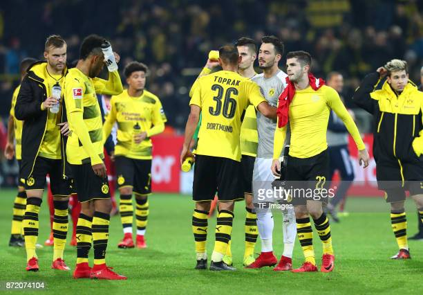 Andrey Yarmolenko of Dortmund PierreEmerick Aubameyang of Dortmund Oemer Toprak of Dortmund Julian Weigl of Dortmund Roman Büerki Christian Pulisic...