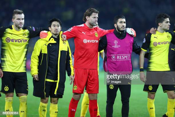 Andrey Yarmolenko of Dortmund Shinji Kagawa of Dortmund Goalkeeper Roman Weidenfeller of Dortmund Nuri Sahin of Dortmund and Marc Bartra Aregall of...