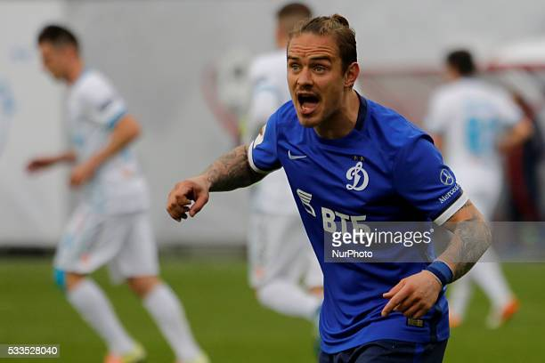 Andrey Yeshchenko of FC Dynamo Moscow reacts during the Russian Football Premier League match between FC Dynamo Moscow and FC Zenit St Petersburg at...