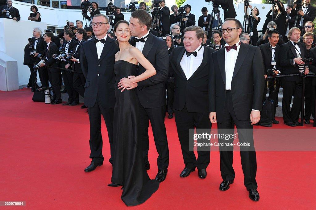 Andrey Zvyagintsev, Roman Madianov, Vladimir Vdovichenkov, Elena Lyadova and Aleksey Serebryakov at the Closing ceremony and 'A Fistful of Dollars' screening during 67th Cannes Film Festival