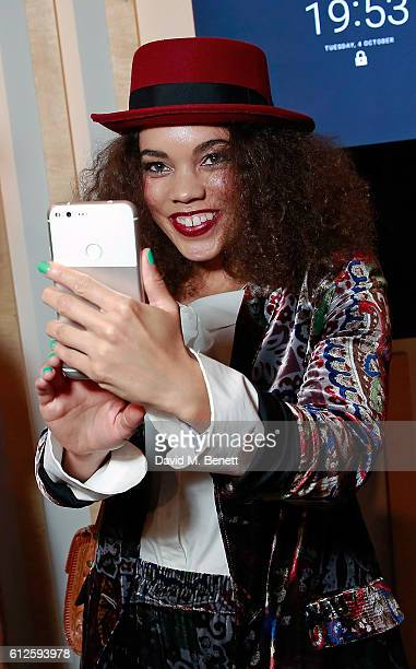 Andreya Triana attends the launch of Google's new phone 'Pixel' with an exclusive live performance from Craig David in front of a starstudded...