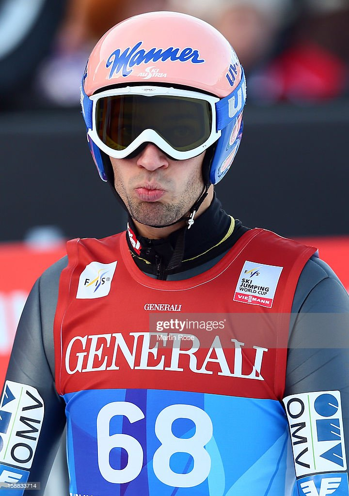 Andrfeas Kofler of Austria reacts during the qualification round for the FIS Ski Jumping World Cup event of the 61st Four Hills ski jumping tournament at Olympiaschanze on December 31, 2012 in Garmisch-Partenkirchen, Germany.