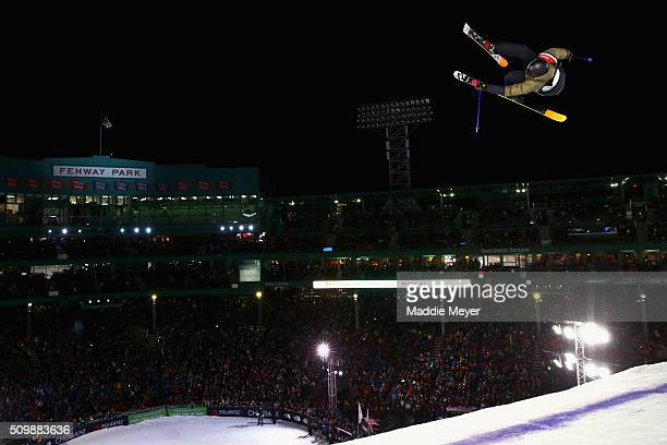 Andri Ragettli of Switzerland competes in the Men's Skiing Finals during Polartec Big Air at Fenway Day 2 at Fenway Park on February 12 2016 in...