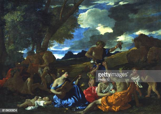 Andrians or The Great Bacchanal with Woman Playing a Lute' 1628 oil on canvas Nicolas Poussin French painter Bacchus Roman god of Wine associated...