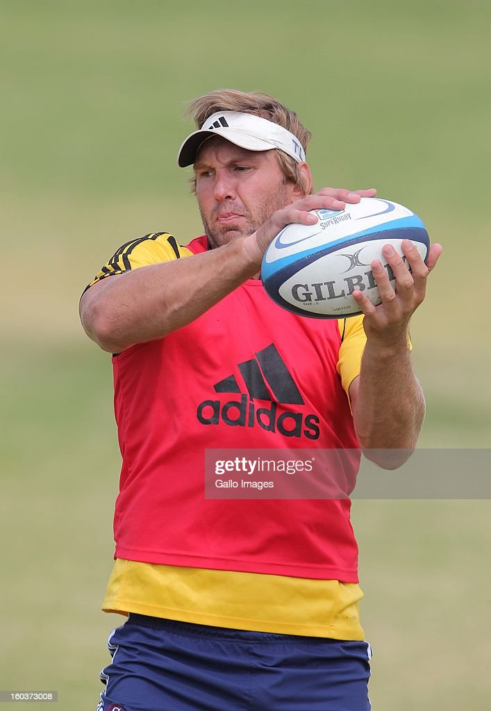 Andries Bekker in action during the DHL Stormers training session at the High Performance Centre in Bellville on January 30 2013 in Cape Town South...