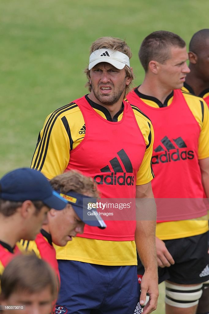 Andries Bekker looks on during the DHL Stormers training session at the High Performance Centre in Bellville on January 30 2013 in Cape Town South...