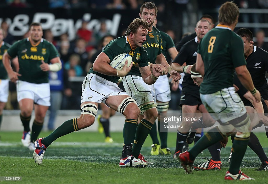 Andries Bekker of South Africa in action during the Rugby Championship match between the New Zealand All Blacks and South Africa at Forsyth Barr...