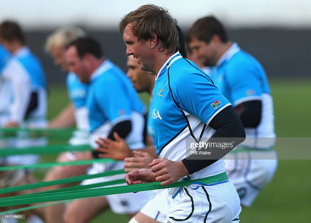 Andries Bekker of South Africa warms up during a South African Springboks training session at Western Springs Stadium on September 11 2012 in...
