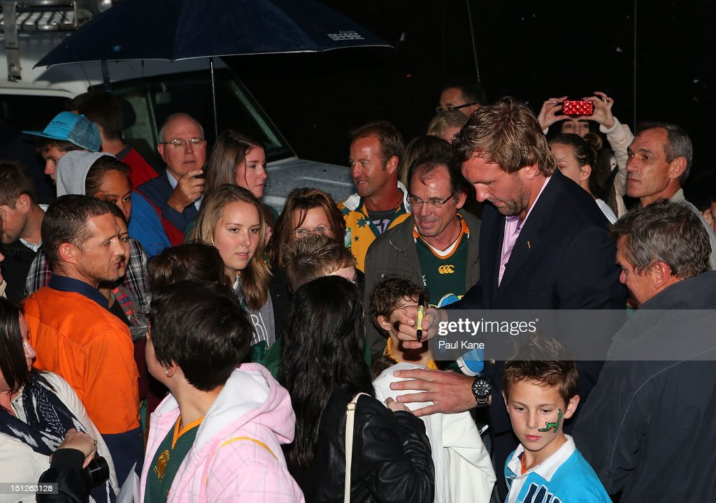 Andries Bekker of the Springboks signs autographs for fans during the Big Braai at Northbridge Piazza on September 5 2012 in Perth Australia