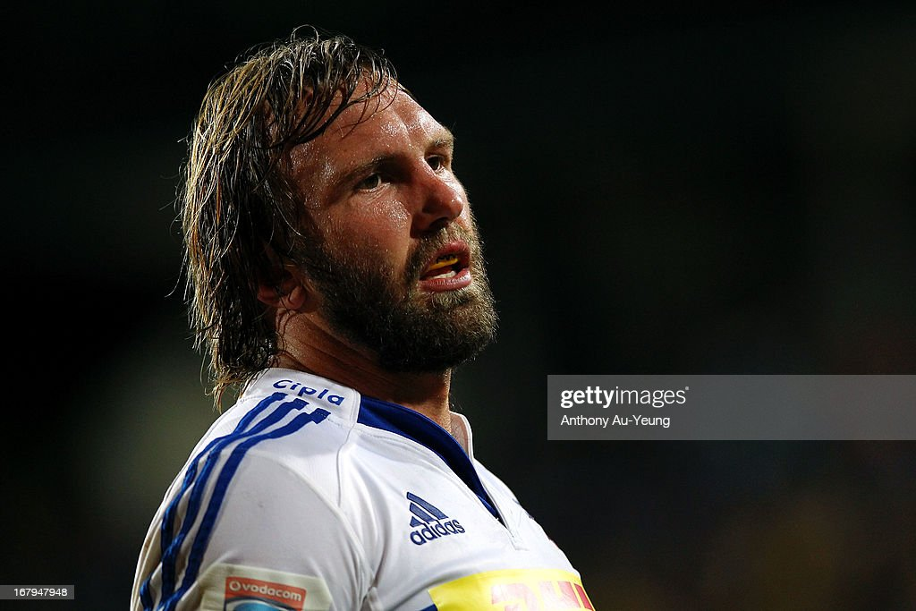 Andries Bekker of the Stormers looks on during the round 12 Super Rugby match between the Blues and the Stormers at North Harbour Stadium on May 3...