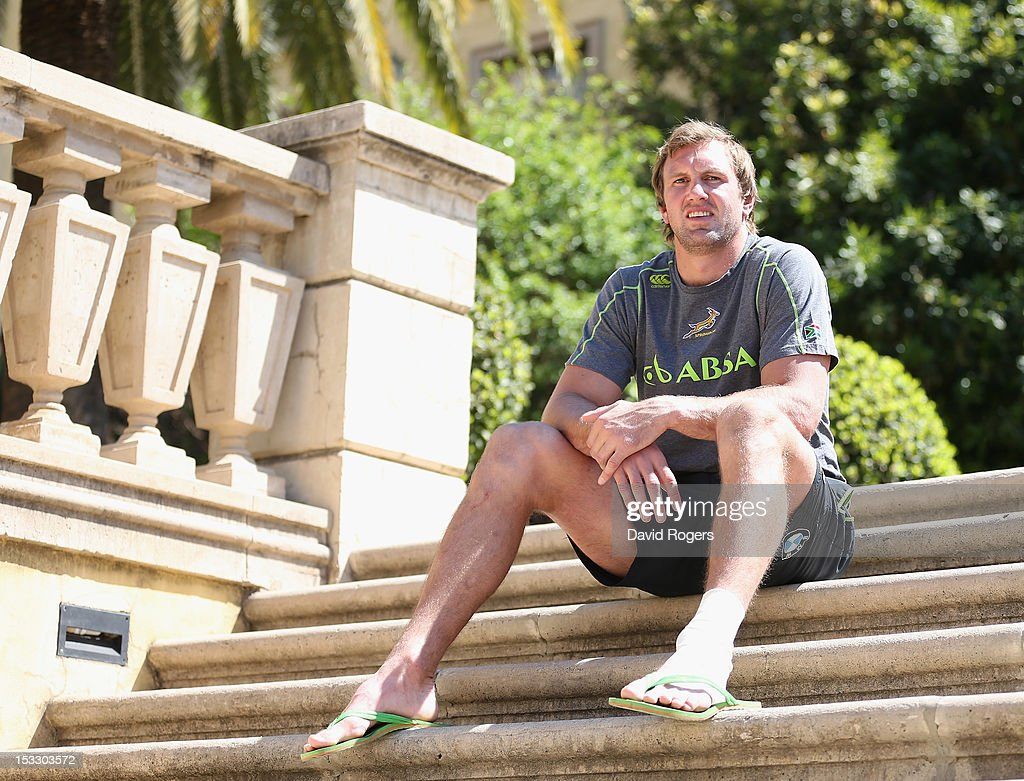 Andries Bekker the Springbok lock poses after the South Africa Springbok team annoucement held at Montecasino on October 3 2012 in Johannesburg South...