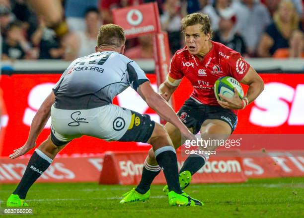 Andries Coetzee of the Lions with possession during the Super Rugby match between Emirates Lions and Cell C Sharks at Emirates Airline Park on April...