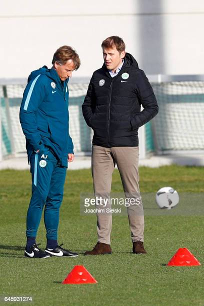 Andries Jonker and Olaf Rebbe attend Training of VfL Wolfsburg at Volkswagen Center on February 27 2017 in Wolfsburg Germany