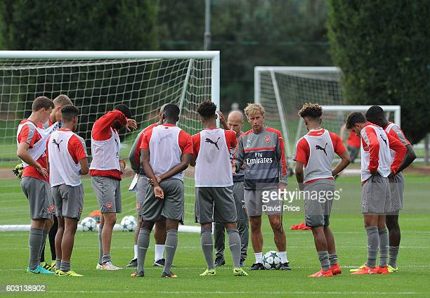 Andries Jonker Arsenal Academy Director and Coach during the Arsenal UEFA Youth League Training Session at London Colney on September 12 2016 in St...
