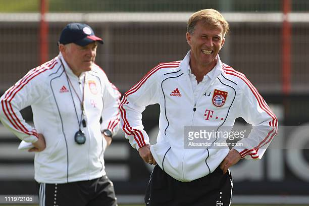 Andries Jonker head coach of Bayern Muenchen smiles with his assistent coach Hermann Gerland during the Bayern Muenchen training session at Bayern's...