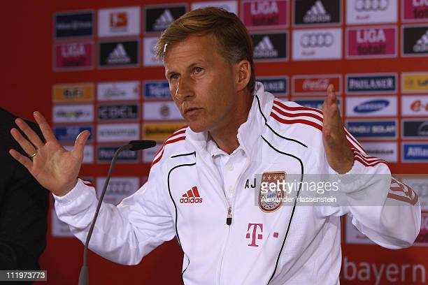 Andries Jonker head coach of Bayern Muenchen speaks to the media during a press conference at Bayern's training ground 'Saebener Strasse' on April 11...