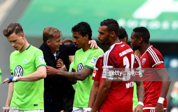 Andries Jonker head coach of Wolfsburg celebrate with Luiz Gustavo of Wolfsburg after the Bundesliga match between VfL Wolfsburg and FC Ingolstadt 04...