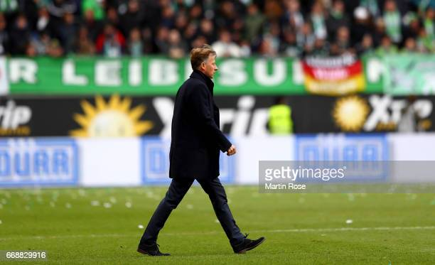 Andries Jonker head coach of Wolfsburg looks happy the Bundesliga match between VfL Wolfsburg and FC Ingolstadt 04 at Volkswagen Arena on April 15...