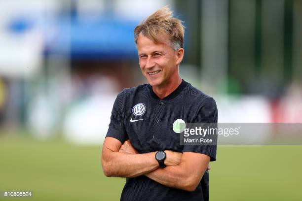Andries Jonker head coach of Wolfsburg looks on before the preseason friendly match between Gifhorner SV and VfL Wolfsburg at GWG Stadium on July 8...