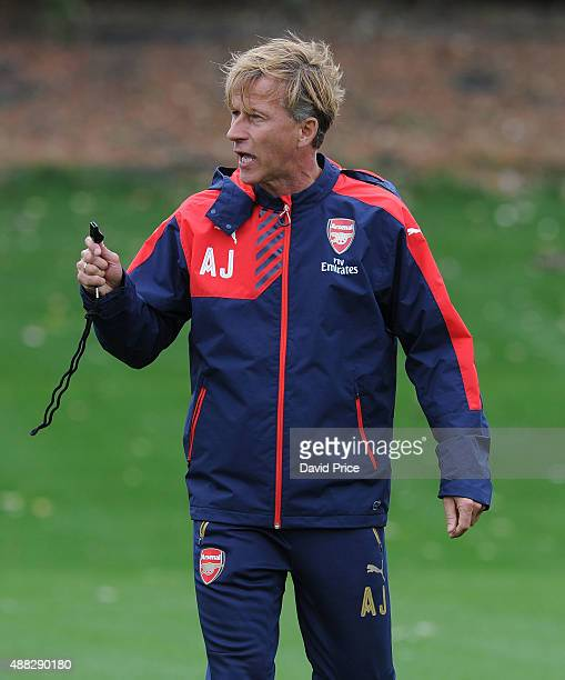Andries Jonker the Arsenal Academy Director coaches the U19 during the U19 training session at London Colney on September 15 2015 in St Albans England