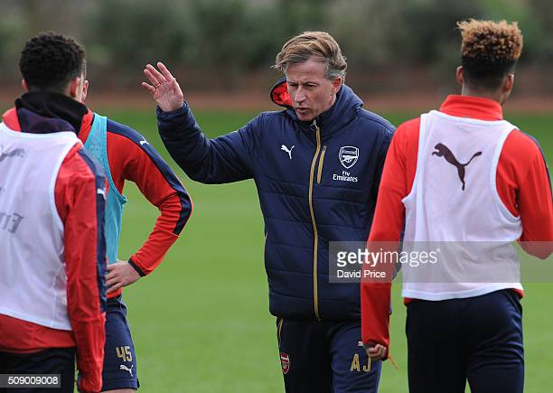 Andries Jonker the Arsenal Academy Director coaches the U19 team during their training session at London Colney on February 8 2016 in St Albans...