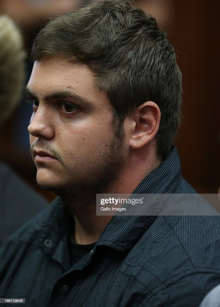 Andries Van Der Merwe appears in the Durban Magistrate court for his bail application on April 8, 2013 in Durban, South Africa. Van Der Merwe is one of the accused charged with the murder of a British Royal Marine, Brett Williams. Williams was beaten to death at a Super XV Match at Durban Stadium.