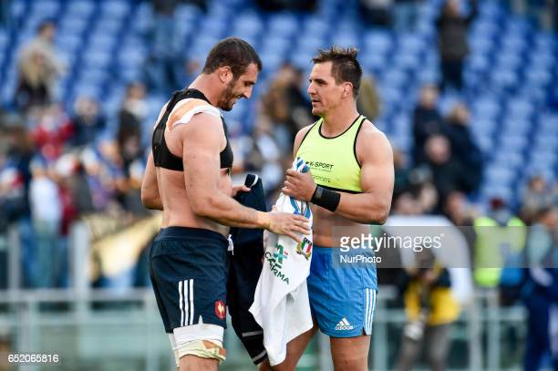Andries Van Schalkwyk of Italy swaps his shirt with Yoann Maestri during the 2017 RBS Six Nations match between Italy and France at Stadio Olimpico...