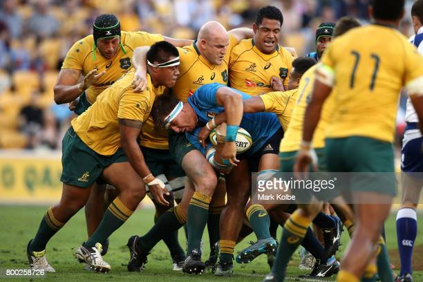Andries Van Schalkwyk of Italy takes on the Wallabies front row during the International Test match between the Australian Wallabies and Italy at...