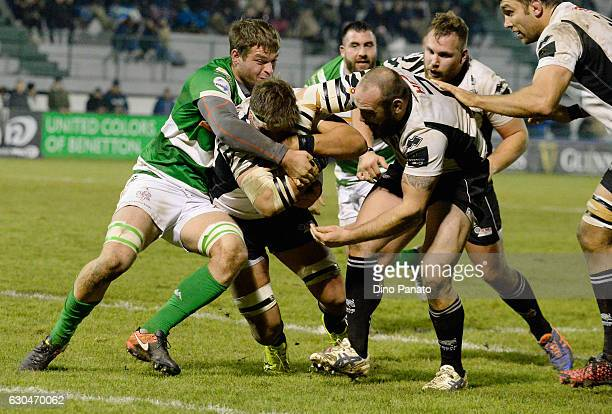 Andries Van Schalkwyk of Zebre Rugby is challenged between Benetton Treviso and Zebre Rugby at Stadio comunale di Monigo on December 23 2016 in...
