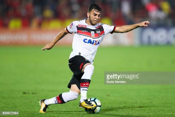 Andrigo of Atletico GO runs with the ball during a match between Flamengo and Atletico GO part of Brasileirao Series A 2017 at Ilha do Urubu Stadium...