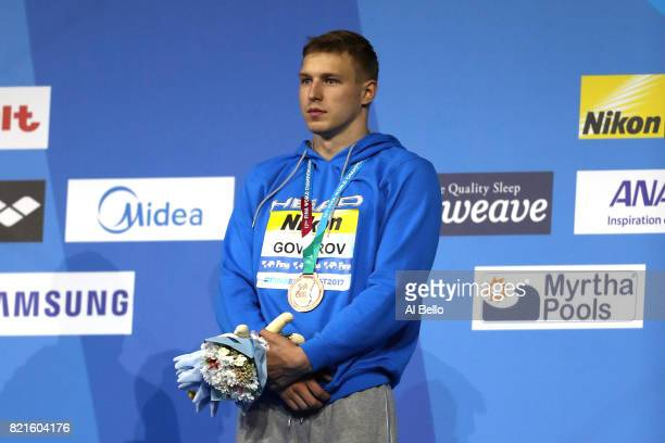 Andrii Govorov of Ukraine celebrates his bronze medel in the Men's 50m Butterfly Final on day eleven of the Budapest 2017 FINA World Championships on...