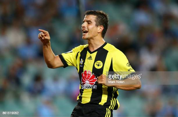 Andrija Kaluderovic of Wellington celebrates scoring a goal during the round two ALeague match between Sydney FC and the Wellington Phoenix at...