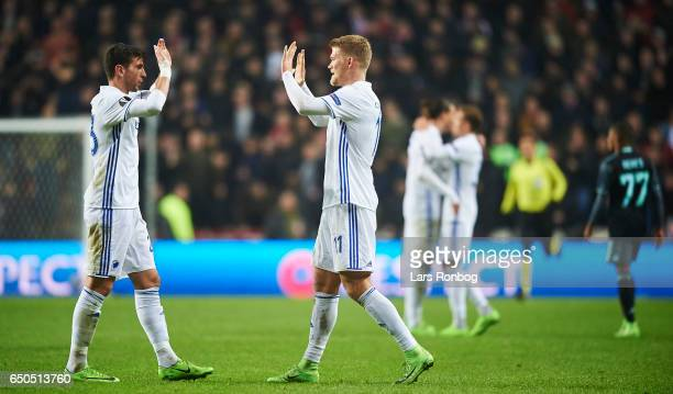 Andrija Pavlovic and Andreas Cornelius of FC Copenhagen celebrate after the UEFA Europa League Round of 16 First Leg match between FC Copenhagen and...