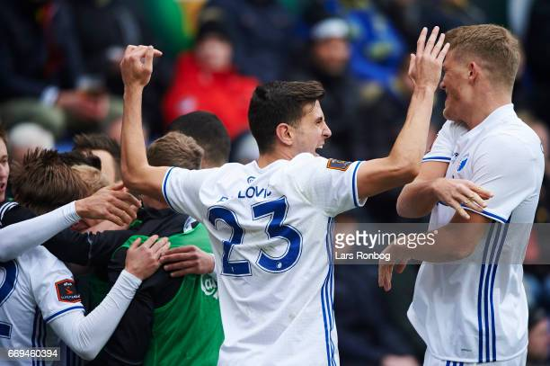 Andrija Pavlovic and Andreas Cornelius of FC Copenhagen celebrate after scoring their first goal during the Danish Alka Superliga match between...
