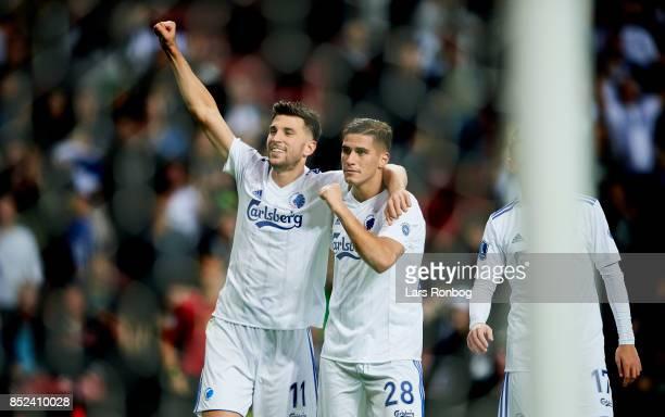 Andrija Pavlovic and Pieros Sotiriou of FC Copenhagen celebrate after scoring their third goal during the Danish Alka Superliga match between FC...