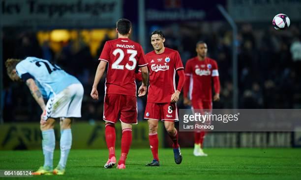 Andrija Pavlovic and Uros Matic of FC Copenhagen celebrate after the Danish Alka Superliga match between Sonderjyske and FC Copenhagen at Sydbank...