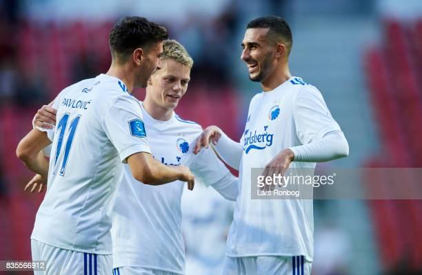 Andrija Pavlovic Kasper Kusk and Youssef Toutouh of FC Copenhagen celebrate after the Danish Alka Superliga match between FC Copenhagen and...
