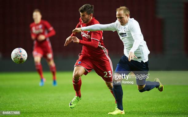 Andrija Pavlovic of FC Copenhagen and Nicklas Granzow of B93 compete for the ball during the Danish Cup DBU Pokalen match match between B93 and FC...