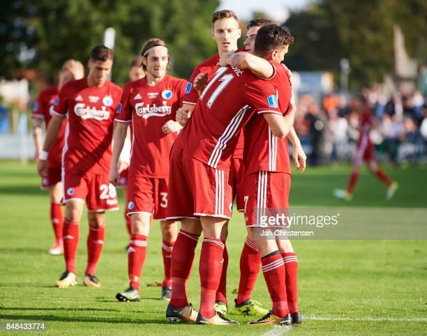 Andrija Pavlovic of FC Copenhagen and teammates celebrate his 03 goal during the Danish Alka Superliga match between FC Helsingor and FC Copenhagen...