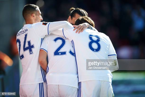 Andrija Pavlovic of FC Copenhagen and teammates celebrates after his 10 goal during the Danish Alka Superliga match between FC Copenhagen and Lyngby...