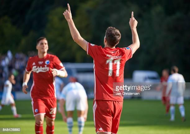 Andrija Pavlovic of FC Copenhagen celebrate after his 02 goal during the Danish Alka Superliga match between FC Helsingor and FC Copenhagen at...
