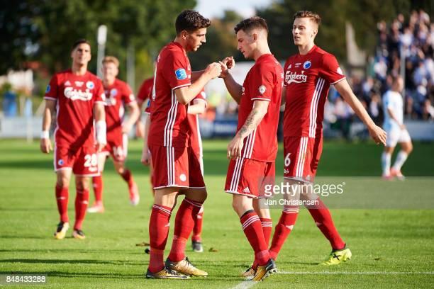Andrija Pavlovic of FC Copenhagen celebrate after his 03 goal during the Danish Alka Superliga match between FC Helsingor and FC Copenhagen at...