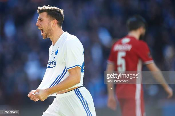 Andrija Pavlovic of FC Copenhagen celebrate after his 10 goal during the Danish Alka Superliga match between FC Copenhagen and Lyngby BK at Telia...