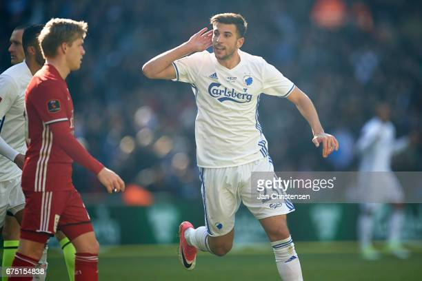 Andrija Pavlovic of FC Copenhagen celebrate after his 20 goal during the Danish Alka Superliga match between FC Copenhagen and Lyngby BK at Telia...