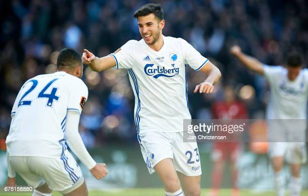 Andrija Pavlovic of FC Copenhagen celebrate after his 30 goal during the Danish Alka Superliga match between FC Copenhagen and Lyngby BK at Telia...