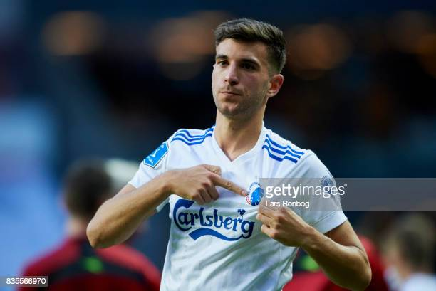 Andrija Pavlovic of FC Copenhagen celebrates and showing his loyalty after the Danish Alka Superliga match between FC Copenhagen and Sonderjyske at...