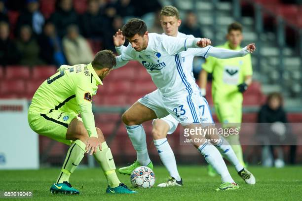 Andrija Pavlovic of FC Copenhagen compete for the ball during the Danish Alka Superliga match between FC Copenhagen and Esbjerg fB at Telia Parken...