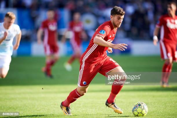 Andrija Pavlovic of FC Copenhagen in action during the Danish Alka Superliga match between FC Helsingor and FC Copenhagen at Helsingor Stadion on...
