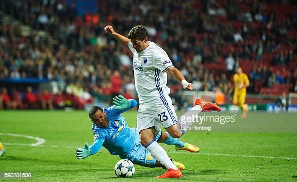 Andrija Pavlovic of FC Copenhagen scores the 10 goal against Goalkeeper Boy Waterman of Apoel FC during the UEFA Champions League playoff 1st leg...